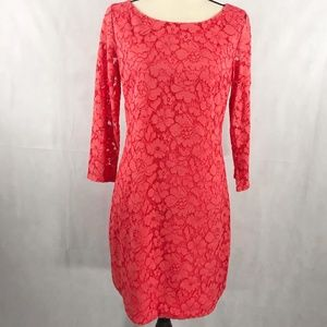 Vince Camuto Bright Coral lace dress Long Sleeve 6